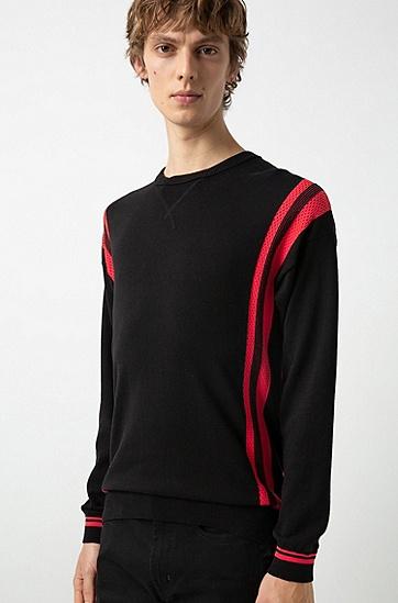 男士圆领长袖针织衫毛衣,  693_淡粉色