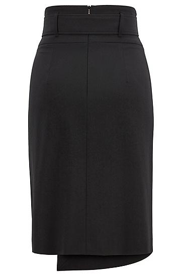 女士商务休闲不规则半身裙A字裙,  001_黑色