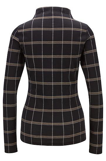 女士休闲格纹高领长袖针织T恤,  960_多色