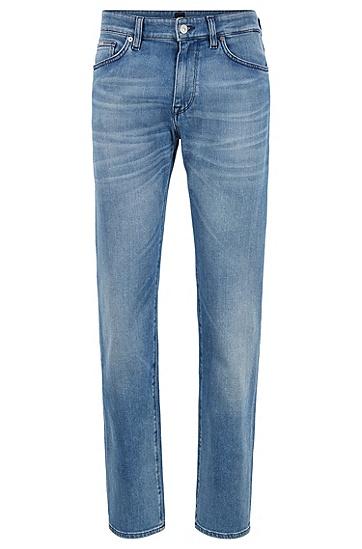 男士浅色休闲修身长裤牛仔裤,  437_亮蓝色