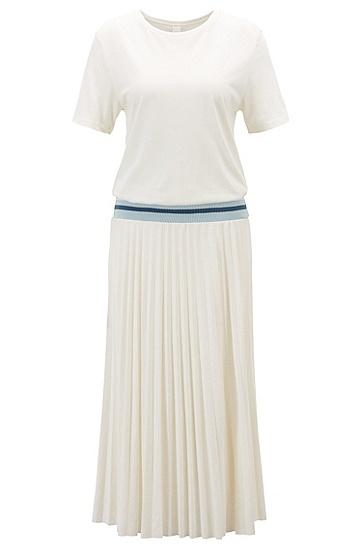 女士优雅百褶连衣裙,  118_淡白色