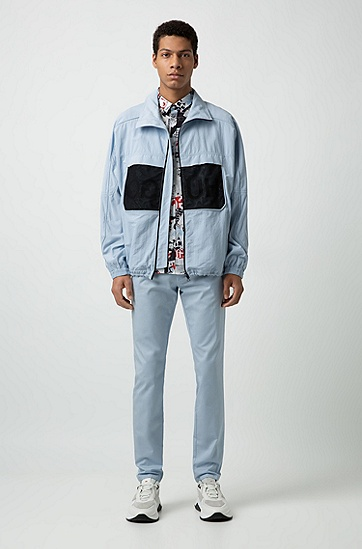 男士时尚休闲长袖印花衬衫,  199_淡白色