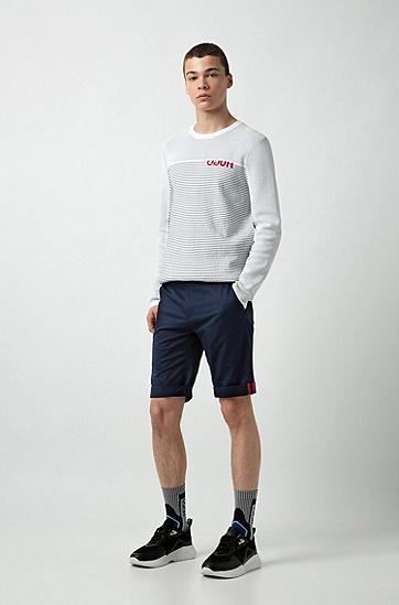 男款纯色时尚休闲五分裤短裤,  418_海军蓝色