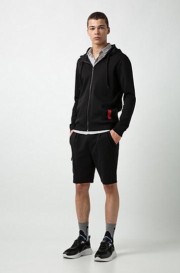 男士运动休闲印花连帽外套,  001_黑色