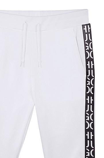 男士运动休闲印花抽身长裤,  100_白色