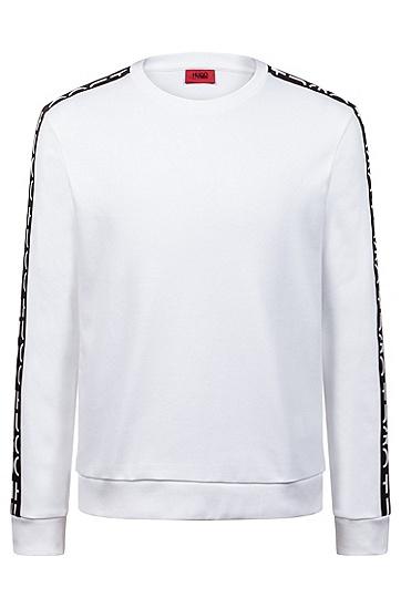 男士运动休闲印花圆领长袖卫衣,  100_白色