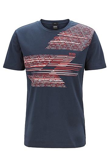 男士直筒棉质休闲短袖T恤,  410_海军蓝色
