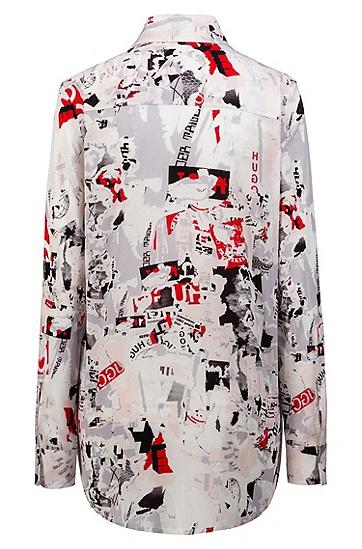 女士休闲时尚印花长袖衬衫,  961_多色