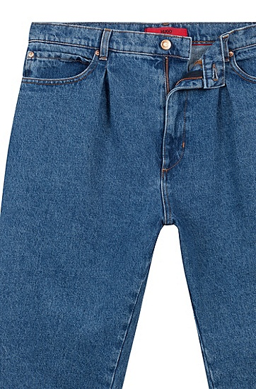 男士休闲宽松阔腿牛仔九分裤,  420_中蓝色