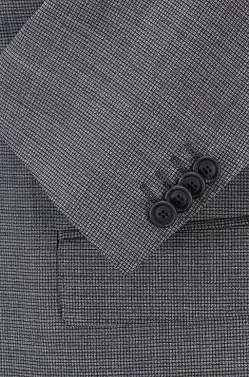 男士浅灰格纹拼接羊毛西服套装,  030_中灰色