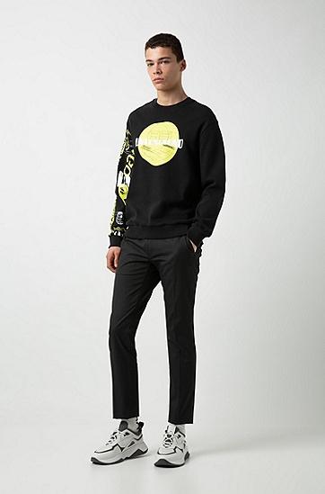 男士时尚休闲圆领长袖印花卫衣,  001_黑色