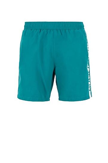 男士条纹拼色休闲短裤,  302_暗绿色