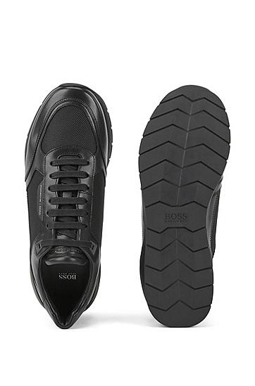 PORSCHE联名款黑色牛皮网面拼接运动休闲鞋,  002_黑色
