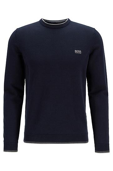 刺绣圆领套头毛衣羊毛针织衫,  410_海军蓝色