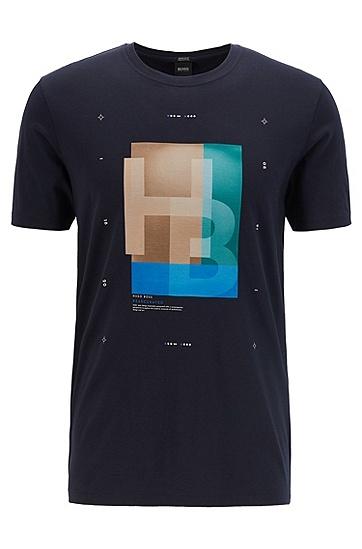 男士棉质休闲短袖T恤,  402_暗蓝色