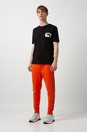 男士时尚休闲印花短袖T恤,  001_黑色