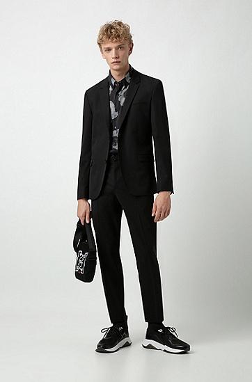 男士时尚休闲印花图案短袖衬衫,  001_黑色