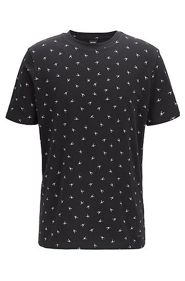 男款休闲印花棉质短袖T恤,  001_黑色