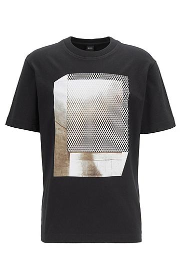 男士休闲印花圆领T恤,  001_黑色