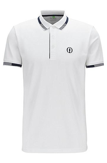 男款撞色刺绣短袖polo衫,  100_白色