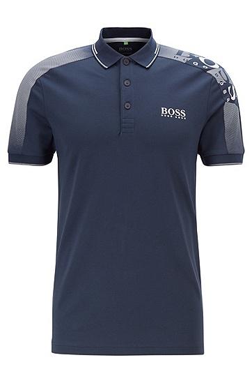 男款撞色拼接印花LOGO短袖polo衫,  410_海军蓝色