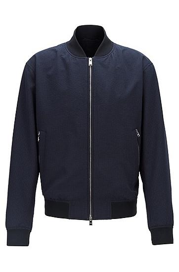 男款时尚休闲圆领拉链夹克外套,  402_暗蓝色
