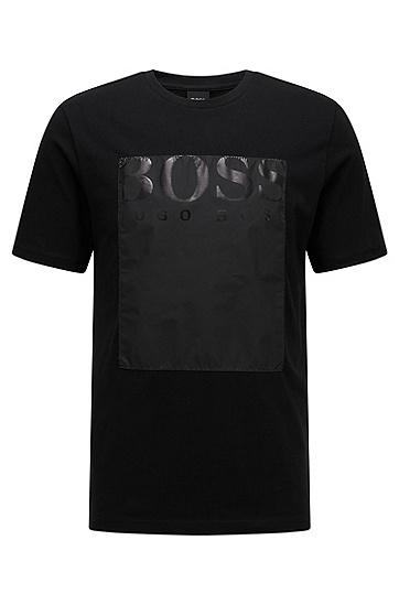 男士休闲印花LOGO圆领短袖T恤,  001_黑色