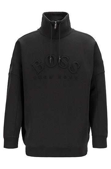 男士立领套头卫衣,  001_黑色