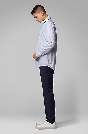 男士休闲条纹衬衫,  450_浅蓝色