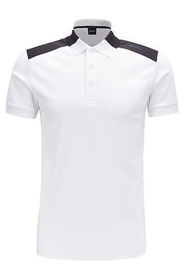 男士商务休闲拼色POLO衫,  100_白色