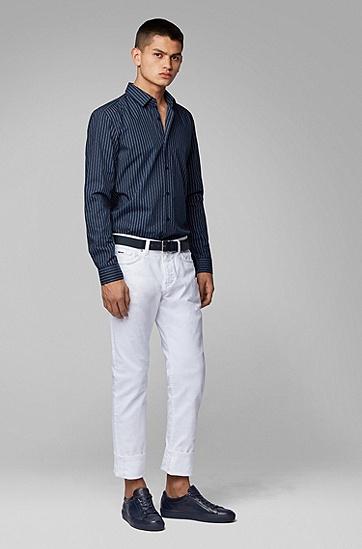 男款常规版条纹长袖衬衫,  404_暗蓝色