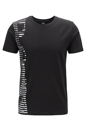 男款撞色印花LOGO短袖T恤,  001_黑色
