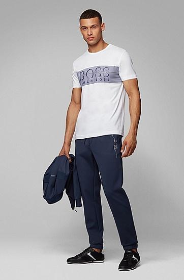 男款撞色印花LOGO短袖T恤,  100_白色