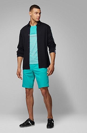 男款条纹棉质短袖T恤,  335_浅绿色