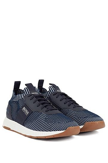 男士网状休闲时尚商务运动鞋低帮鞋,  401_暗蓝色