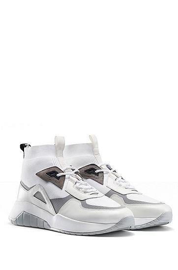 男士时尚休闲运动高帮系带运动鞋,  100_白色