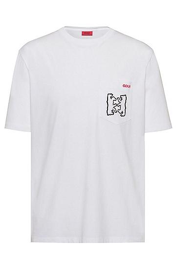 男士棉质休闲时尚短袖T恤,  100_白色