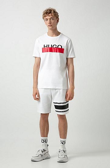 男款撞色印花棉质短袖T恤,  100_白色