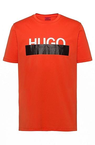 男款撞色印花棉质短袖T恤,  802_暗橙色