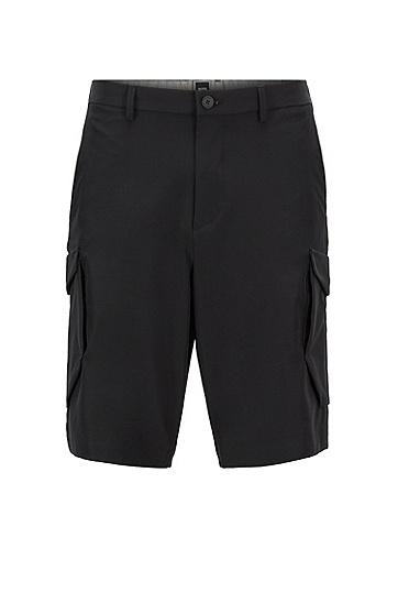男士双口袋直筒中长裤,  001_黑色