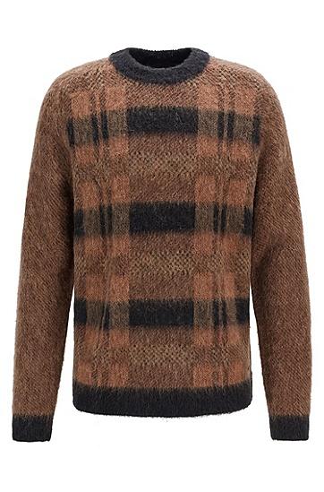 舒适保暖复古格子毛衣羊毛衫,  265_中米色