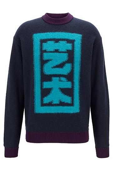 时尚潮流复古套头羊毛针织衫,  404_暗蓝色