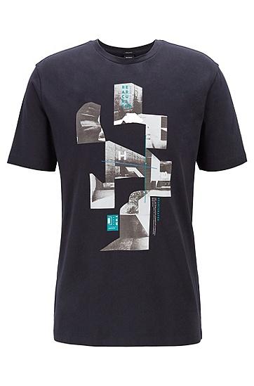 男士休闲印花圆领T恤,  402_暗蓝色