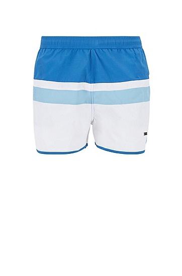 男士休闲束腰条纹短裤,  462_淡蓝色