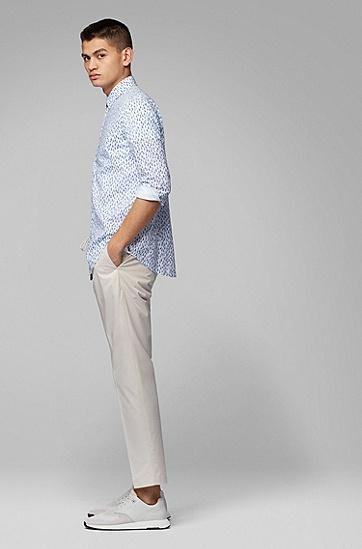 男士休闲印花衬衫,  402_暗蓝色