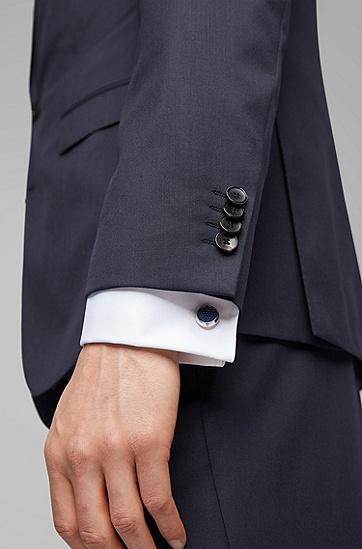 男士商务衬衫袖扣,  410_海军蓝色