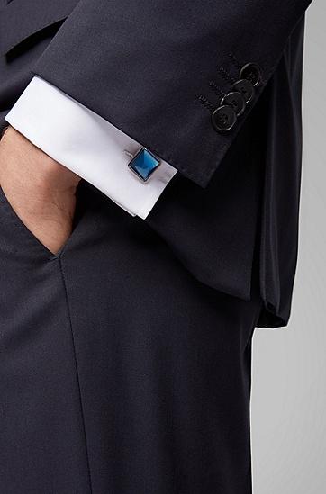 男士时尚方形衬衫袖扣,  423_中蓝色