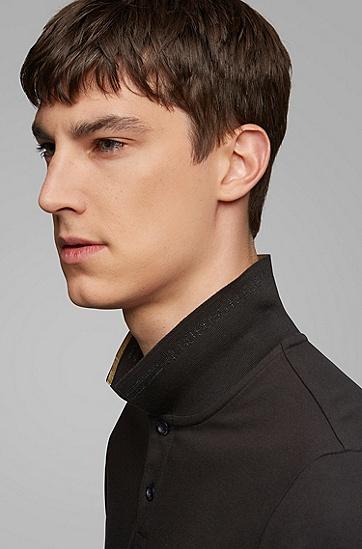 棉质潮流衬衫领短袖t恤polo衫,  006_黑色