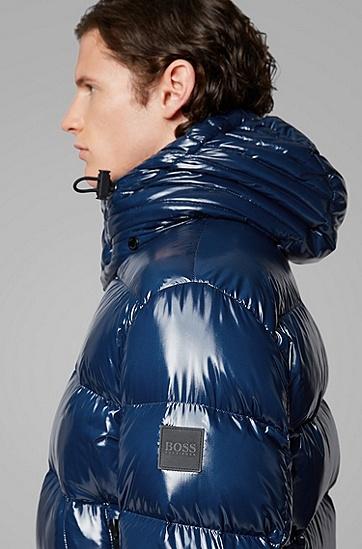 亮面连帽鸭绒保暖外套羽绒服,  417_海军蓝色