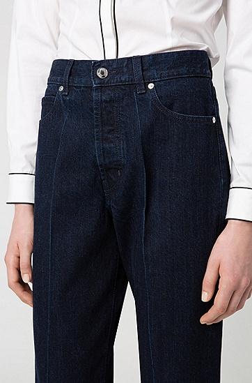 女士高腰直筒牛仔裤,  405_暗蓝色